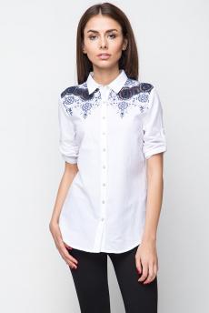 Блузка с ажурной вышивкой на плечах Marimay